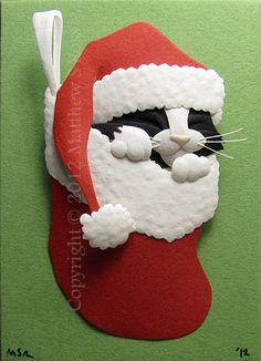 Tuxedo Kitten in a Stocking Cat ACEO Christmas Mini Paper Sculpture M Ross. $40.00, via Etsy.