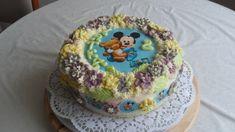 Tort ozdobiony opłatkiem i kwiatami z kremu Cake, Desserts, Food, Tailgate Desserts, Deserts, Kuchen, Essen, Postres, Meals