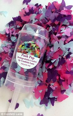 These fun confetti Push Pops are filled with pretty - and biodegradable - confetti...