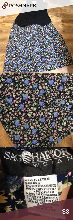 Sag Harbor 3x floral skirt Brand is Sag Harbor. Size is 3x Elastic band on back and sides. Light material  100% polyester Has a flow feel! Great for work or play. Style is Estilo. Navy blue background with cream,blue and pink flowers and green stems and leaves. Sag Harbor Skirts