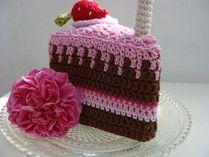 Crocheted Slice of Chocolate Cake - Free Crochet Pattern
