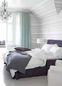Grey & aqua bedroom. No purple though