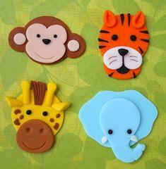 12 ANIMAUX DE LA JUNGLE. Comestibles Fondant Cupcake Toppers - singe, tigre, girafe et éléphant
