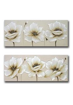 Landscape canvas painting with beige background and large relief flowers in off-white color and brown tones. Canvas Painting Landscape, 3d Painting, Namaste Art, Canvas Art, Canvas Prints, Lighted Canvas, Mural Art, Pictures To Paint, Flower Wall