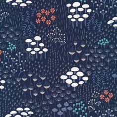 124112 Midnight Flora | Navy from Wildwood by Elizabeth Olwen for Cloud9 Fabrics