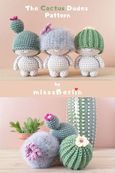 Crochet yourself whimsical Cactus Dudes! A amigurumi mini doll pattern - DIY PDF tutorial with instructions for making 3 dolls! Crochet Kawaii, Crochet Diy, Crochet Amigurumi Free Patterns, Crochet Animal Patterns, Crochet Dolls, Doll Patterns, Tutorial Crochet, Doll Tutorial, Cactus En Crochet