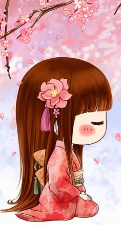 Japanese Quilts, Japanese Art, Girl Cartoon, Cute Cartoon, Anime Chibi, Kawaii Anime, Geisha Art, Manga Cute, Chibi Girl