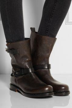 Rag & bone|Textured-leather biker boots