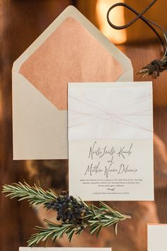 Foiled Copper and Calligraphy Wedding Invitations by Aerialist Press  | Carlie Statsky Photography | Earthy and Organic Wedding Shoot in Soft Neutrals and Copper