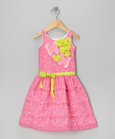 Take a look at this Pink Lace Butterfly A-Line Dress - Toddler & Girls by Trish Scully Child on #zulily today!