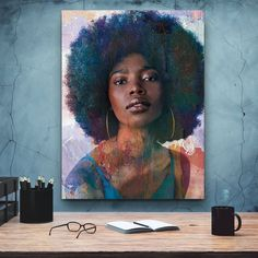African-American Woman Vector Beauty Woman, African Art, Canvas decoration for living room, Housewarming Gift, Black Woman Art Comic Poster, Great Housewarming Gifts, Black Artists, Black Women Art, Custom Canvas, African American Women, Female Art, Female Portrait, Map Art