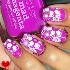 piCture pOlish 'Mad Magenta' flower mani art by HeartNAT!  Shop on-line now: www.picturepolish.com.au