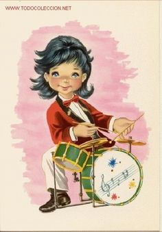 Preciosa postal: Magnifico dibujo infantil. Simpatiquisimo niño tocando la bateria. Año 1968 - Foto 1