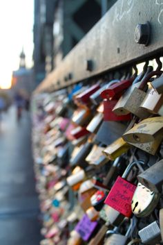 Love locks on the famous Hohenzollern Bridge in Cologne, Germany