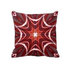 Red White Grey Geometric American MoJo Pillows