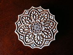 Hand Carved Indian Wood Textile Stamp Block- Round Floral Lace Motif (Reserved). $21.00, via Etsy.