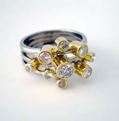 Stepping Stone Ring - commission in platinum, 18ct gold & Diamonds