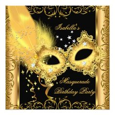 Masquerade Party Invitations Gold Black Yellow Mask 2 Card