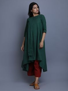 Green Cotton Linen Asymmetric Flap Layered Tunic