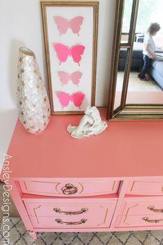 Hollywood regency vintage coral and gold dresser! Indoor Pillow, Pillow Room, Affordable Home Decor, Designer Pillow, Pillows, Coral And Gold, Vintage Dressers, Gold Dresser, Dresser