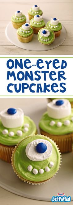 Try these One-Eyed Monster Cupcakes that are more fun than scary. These One-Eyed Monster Cupcakes are also more fun than difficult to decorate! Swap out green food coloring for a color of your choice to help personalize these cuties. Halloween Baking, Halloween Goodies, Halloween Food For Party, Halloween Desserts, Halloween Cupcakes, Halloween Treats, Halloween Decorations, Cupcake Recipes, Cookie Recipes
