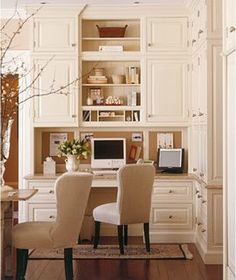 #office.  Great built-ins and use of wall space