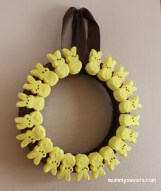 peeps-wreath easter