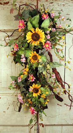 Country Summer Sunflower Surprise Silk Door Swag