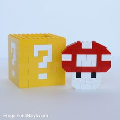 Mario LEGO Projects with Building Instructions – Frugal Fun For Boys and Girls Mario LEGO Projekte zu bauen Mario Lego, Lego Super Mario, Mario Bros, Easy Lego Creations, Bolo Do Mario, Lego Van, Lego Letters, Nerd Decor, Lego Boxes
