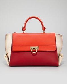V1AGD Salvatore Ferragamo Sofia Colorblock Flap Satchel Bag, Red