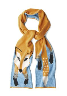 Outfox the Eye Scarf: This is one fox scarf thats cruelty-free and cute  to boot! Yumis neat knit accessory plays on the idea of a traditional stole – with a precious print! Known fo…    #1960s #60s #Retro #Vintage #Multi, #OutfoxTheEyeScarf, #Yumi