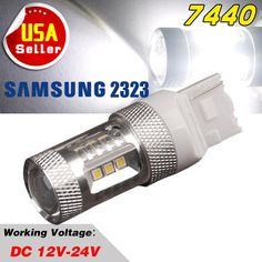 1 x 12V-24V 7440 15W LED High Power SAMSUNG 2323 SMD White Backup/Reverse Lights #7440HighPower15W232315SMDProjectorlens