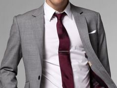 Grey suit and burgundy tie