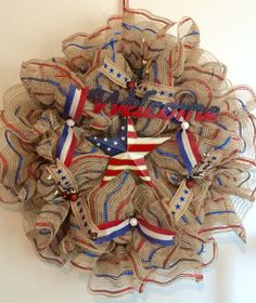Patriotic burlap ruffle wreath for sale. Visit us on Facebook at Lace's crafty creations