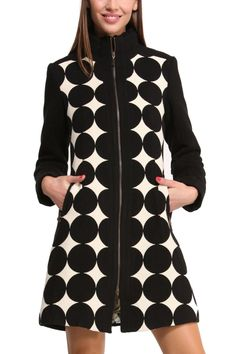 """Desigual Coat """"Mysterious Night"""" by C. Lacroix, style 46E2L02 2000. Stunning black and white coat with geometric design, zipper, pockets, colourful lining."""