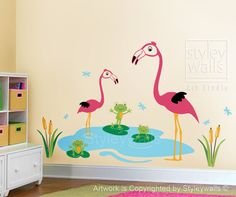 Happy Flamingos and Froggies Dragonflies - Nursery Vinyl Wall Decal
