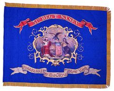 """51st Regiment, NY Volunteer Infantry  Regimental Colors.  The 51st Regiment, or """"Shepard Rifles,"""" mustered into service for three years by 23 October 1861. When their three year term expired, those entitled were discharged and the regiment continued in service as """"Veteran Volunteers,"""" as indicated by the """"N.Y.S.V.V."""" along the top of this blue silk regimental color. The 51st Regiment received this flag from the City of New York."""