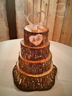 Forever After Cakes - Tree Trunk Wedding Cake with Bark Carved Heart and Deer Horns Topper