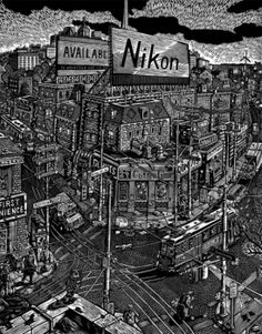 """""""Queen and Roncesvalles"""" Linocut relief print by Christopher Hutsul. Love his details! Art Toronto, Wood Engraving, Printmaking, City Photo, Queen, Block Prints, Carousel, Illustration, Canada"""