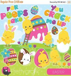 80% OFF SALE Easter clipart commercial use, easter peeps vector graphics, easter chicks digital clip art, digital images  - CL949