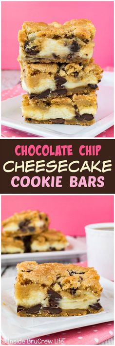 Chocolate Chip Cheesecake Cookie Bars - layers of chewy cookies and creamy cheesecake make these homemade bars disappear in a hurry. Great recipe for any party or dinner!