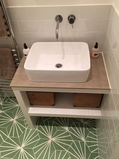 This lovely shade of green works with multiple styles and colours in your bathroom #BespokeTiles #BathTiles #Tiles #ColourfullTiles #ColorfulTiles