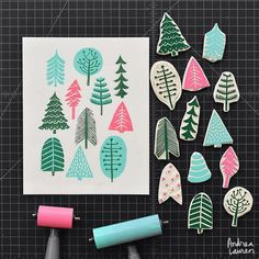 Andrea Lauren (@inkprintrepeat) | Carving and printing some winter trees from leftover bits of block | Intagme - The Best Instagram Widget