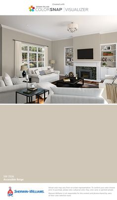 I found this color with ColorSnap® Visualizer for iPhone by Sherwin-Williams: Accessible Beige (SW 7036).                                                                                                                                                     More