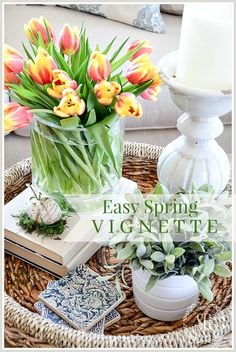 CREATE AN EASY SPRING VIGNETTE- You can bring the beauty of spring into your home by putting together a spring inspired vignette in less than 10 minutes. Coffee Table Vignettes, Decorating Coffee Tables, Retro Home Decor, Easy Home Decor, Spring Home Decor, Spring Decorations, House Decorations, Faux Flowers, Tray Decor