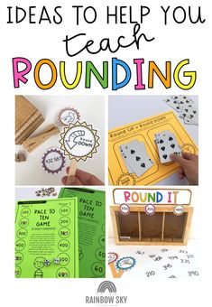 Rounding numbers always seems to be a skill that our students find challenging year in, year out. We thought that this probably isn't just limited to our classrooms. Read our tips for teaching students to round numbers fluently and confidently. We share fun and engaging rounding numbers games up from rounding tens, hundreds and thousands. Rounding Games, Rounding Numbers, Ten Games, Math Games, Math Stations, Math Centers, Hands On Activities, Math Activities, Math Center Organization