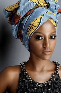 Head Wraps are worn by both African and African American women. Head wraps will forever be in fashion and look sexy on any woman. My Black Is Beautiful, Beautiful People, Beautiful Women, Beautiful Hijab, Simply Beautiful, Beautiful Pictures, African Beauty, African Fashion, African Style
