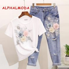 Women Summer Casual Suits 2019 Embroidery Flower O-neck Short Sleeve Tshirts Hole Ankle-length Pants Clothing Sets Casual Suit, Style Casual, Denim Pants, Ripped Jeans, T-shirt Und Jeans, Suits For Women, Clothes For Women, Clubwear, Ankle Length Pants