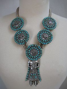 LARRY BEGAY SUNFACE KACHINA NAVAJO STERLING TURQUOISE NECKLACE