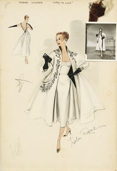 style-on-screen: Original costume design sketches for Esther Williams by Helen Rose. style-on-screen Vintage Fashion Sketches, Fashion Illustration Vintage, Illustration Mode, Fashion Design Sketches, Fashion Vintage, Fashion Illustrations, Fashion Drawings, Hollywood Fashion, Mode Hollywood